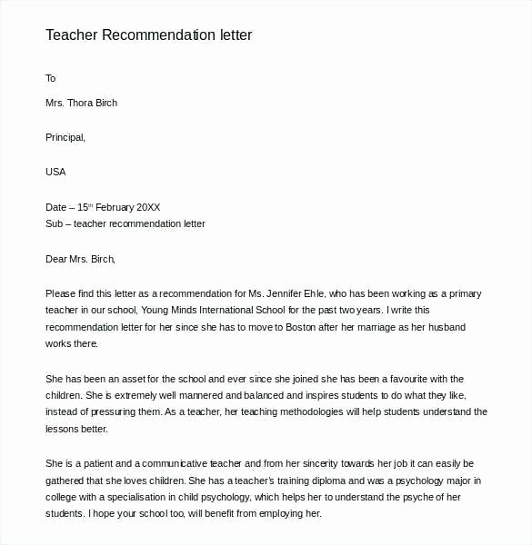 Recommendation Letter for Substitute Teacher Awesome Letter Re Mendation for A Student Teacher