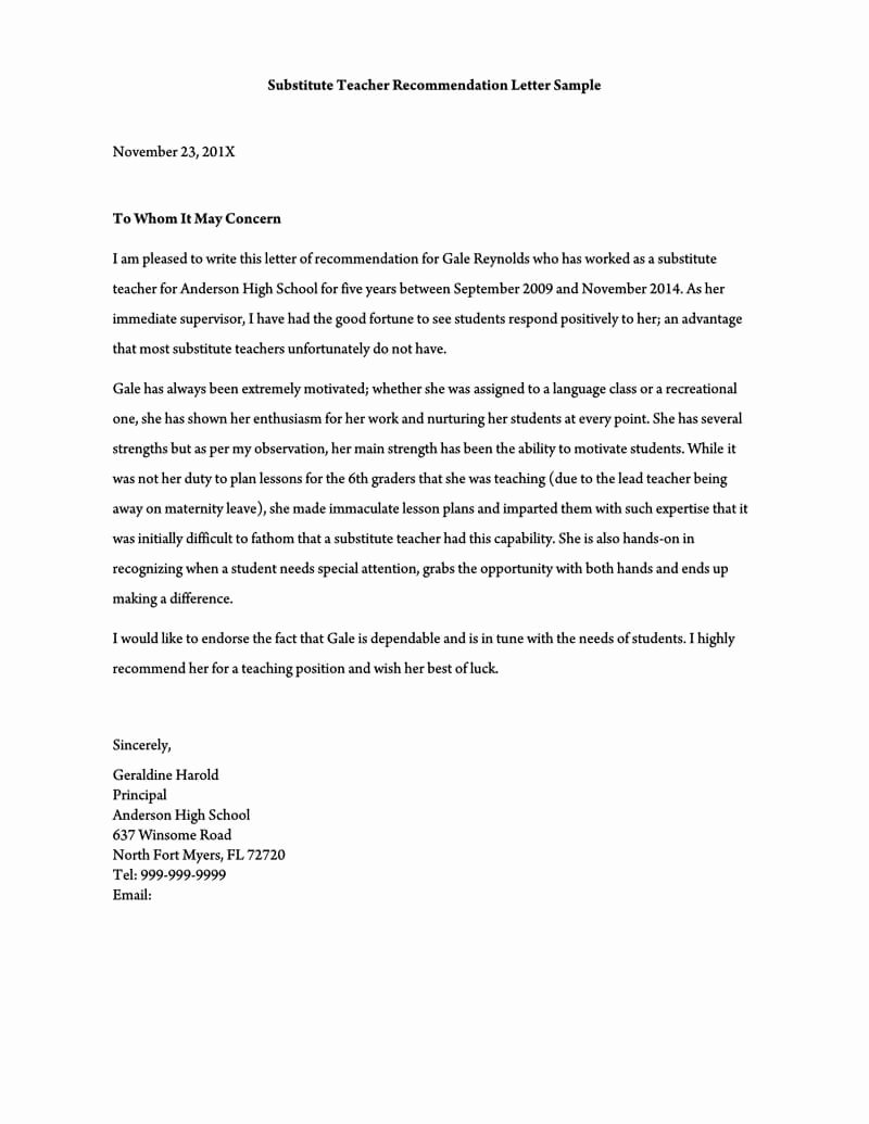 Recommendation Letter for Substitute Teacher Beautiful Re Mendation Letter for A Teacher 32 Sample Letters