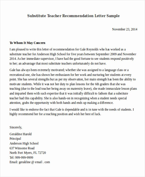 Recommendation Letter for Substitute Teacher Elegant 29 Reference Letter format Samples