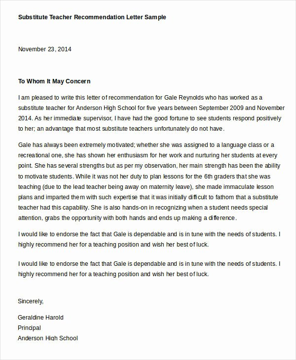 Recommendation Letter for Substitute Teacher Elegant Reference Letter Example 33 Free Word Pdf Documents