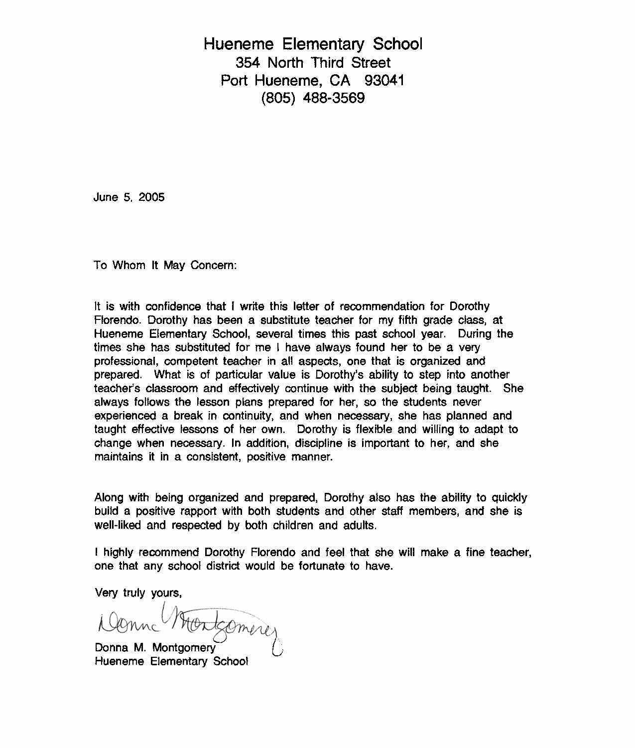 Recommendation Letter for Substitute Teacher Lovely Letter Re Mendation for Substitute Teacher