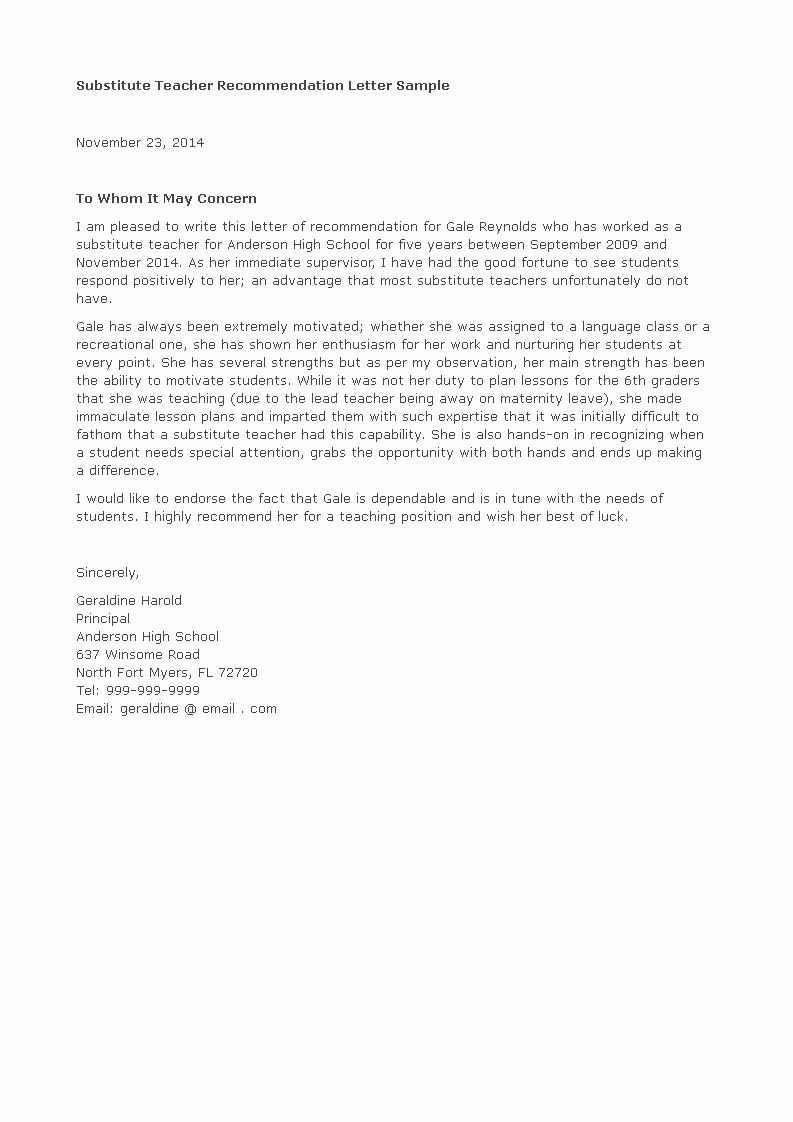 Recommendation Letter for Substitute Teacher Luxury Free Letter Of Re Mendation for Substitute Teacher