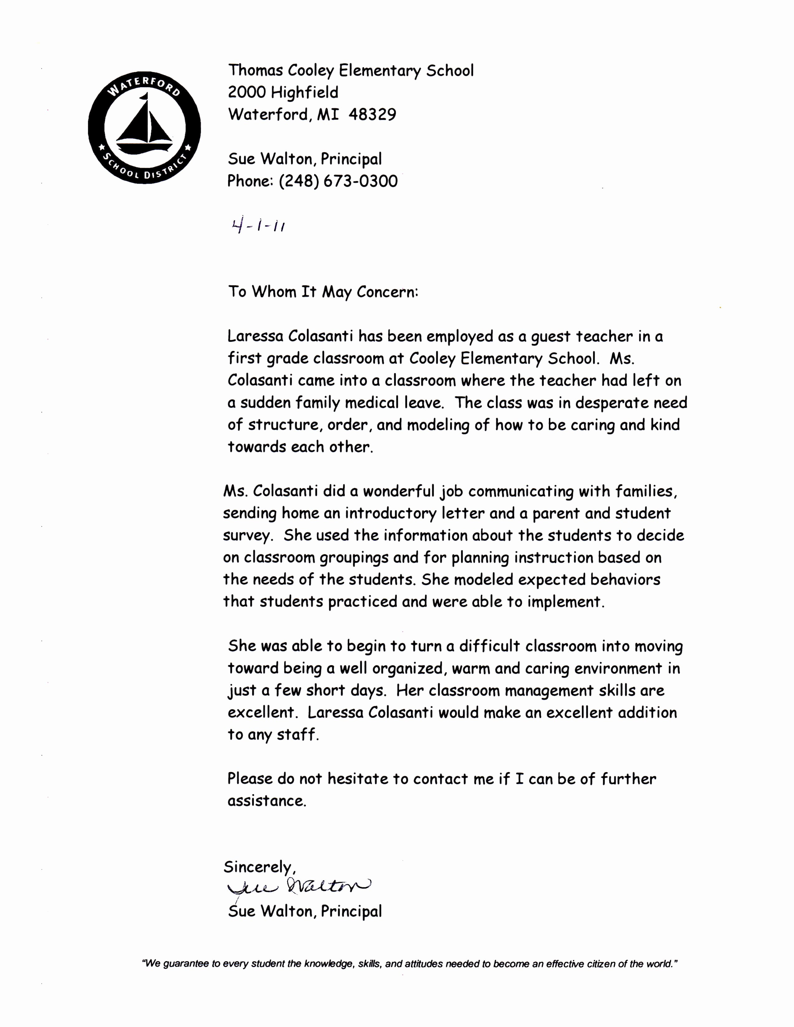 Recommendation Letter for Substitute Teacher New My Field Experiences Laressa M Colasanti