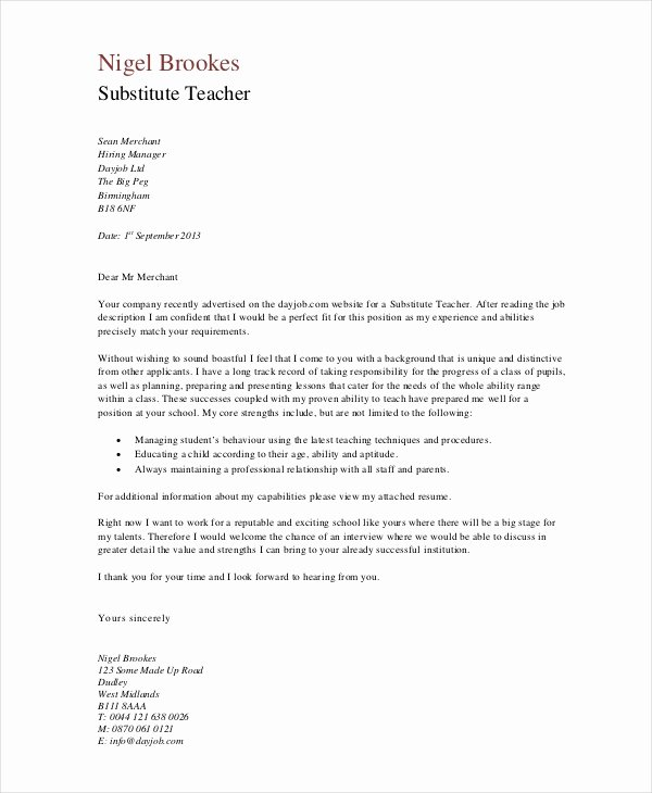 Recommendation Letter for Substitute Teacher Unique Substitute Teacher Letter Letter Of Re Mendation