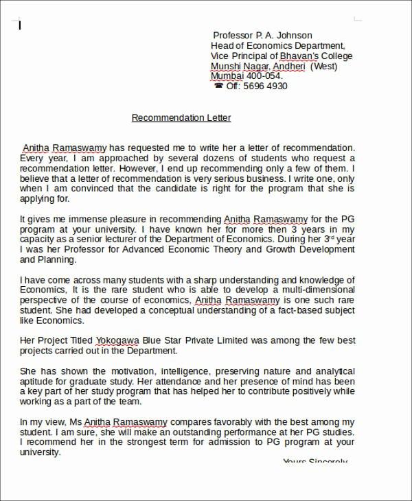 Recommendation Letter for Teacher Best Of 6 Sample Teaching Position Re Mendation Letter Free
