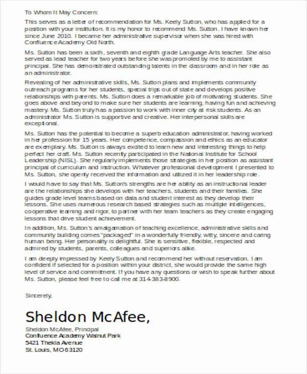Recommendation Letter for Teacher Colleague Elegant 54 Re Mendation Letter Example Templates