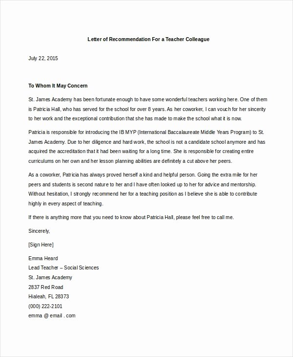 Recommendation Letter for Teacher Colleague Luxury Sample Teacher Letters Of Re Mendation 6 Free