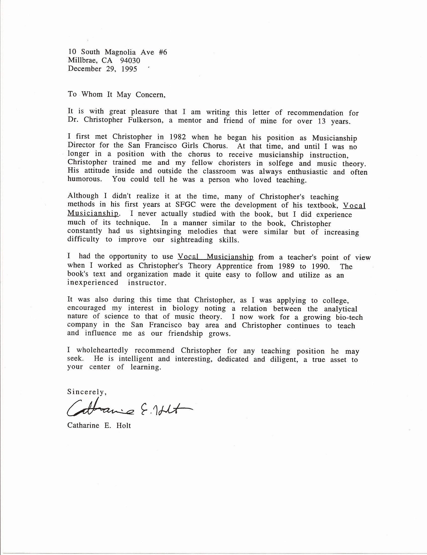 Recommendation Letter for Teaching assistant Beautiful Catharine E Holt Letter