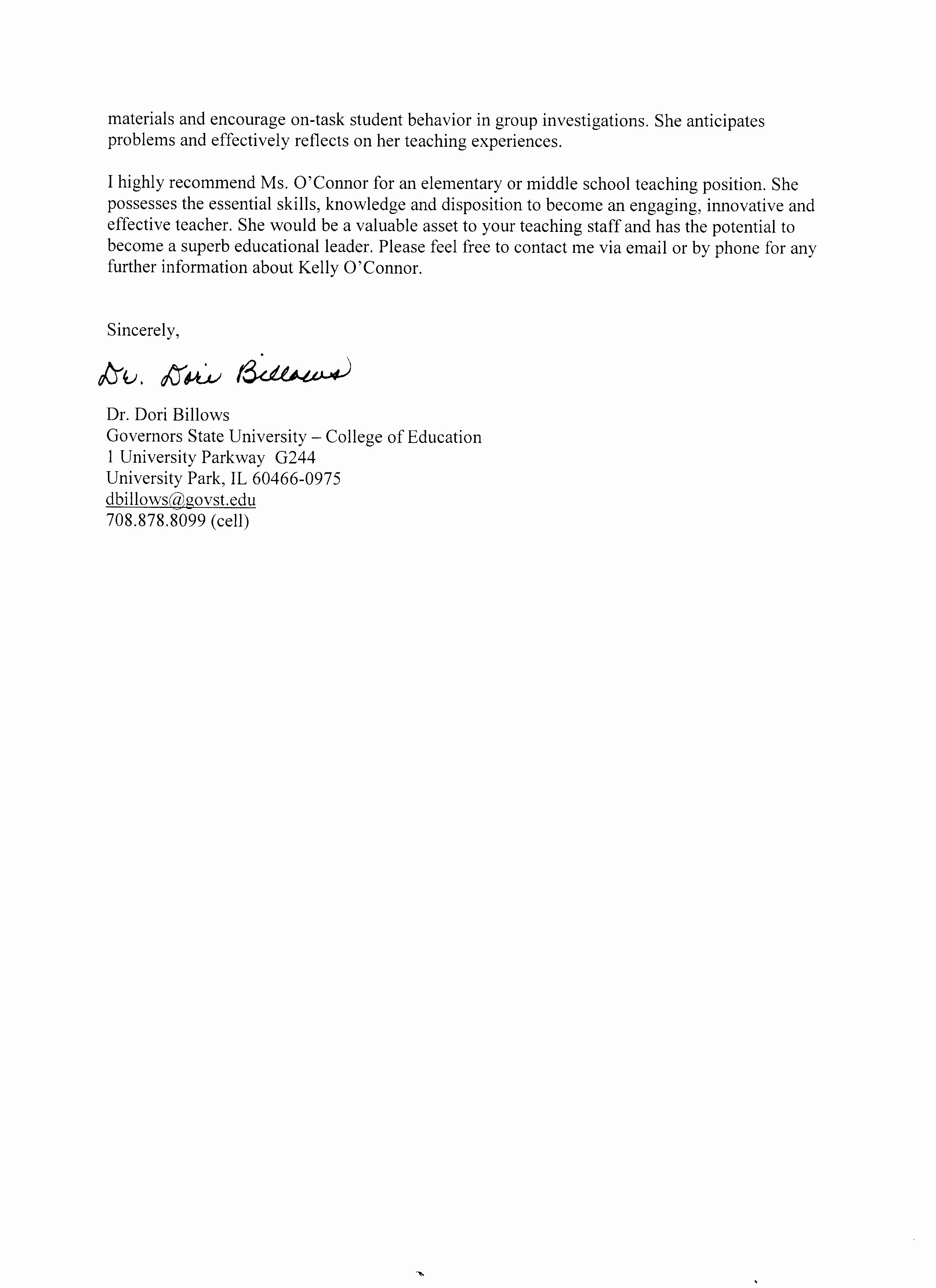 Recommendation Letter for Teaching assistant Elegant Reference Letters Kelly O Connor Banaszak S Teaching