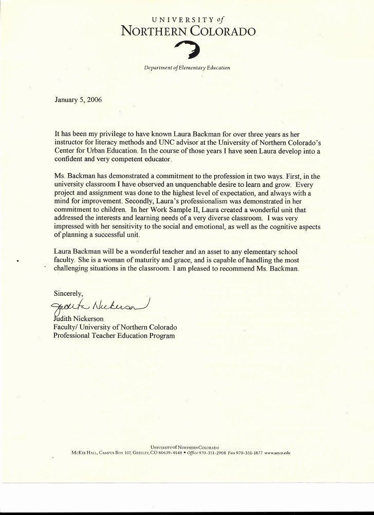 Recommendation Letter for Teaching assistant Unique Letter Of Re Mendation From Judith Nickerson Faculty Of