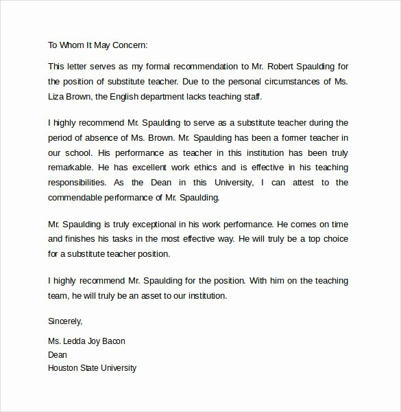 Recommendation Letter for Teaching Job Beautiful 15 Sample Re Mendation Letters