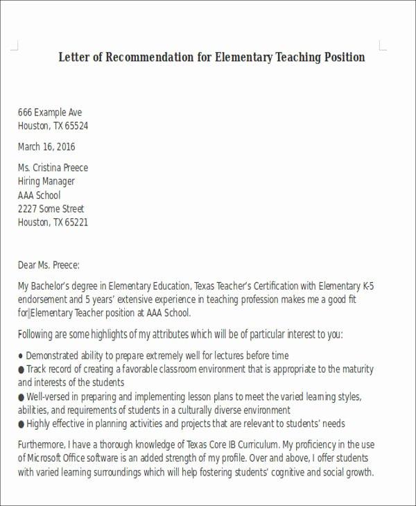 Recommendation Letter for Teaching Job Elegant 6 Sample Letter Of Re Mendation for Teaching Position
