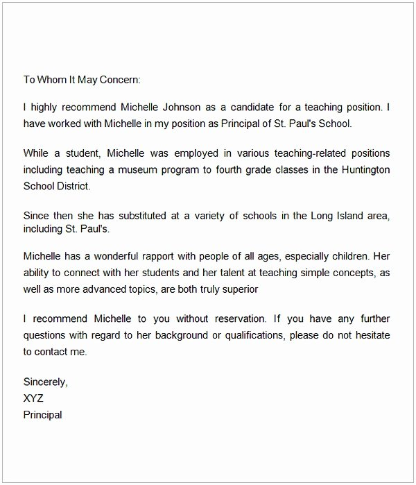 Recommendation Letter for Teaching Job Fresh Letter Of Re Mendation for A Teacher Colleague