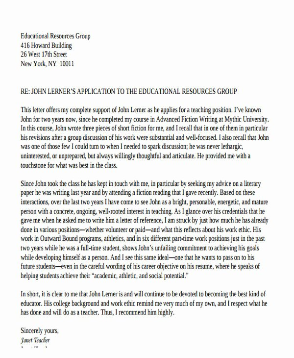 Recommendation Letter for Teaching Job Unique 47 Examples Of Reference Letters Word Google Docs
