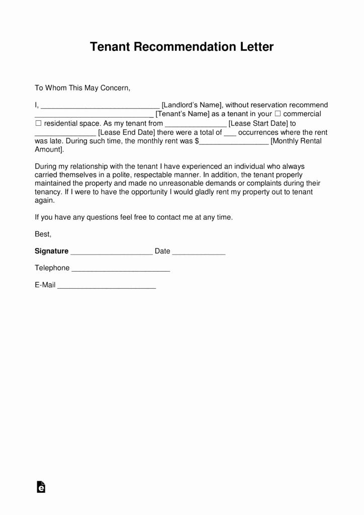 Recommendation Letter for Tenant Elegant Free Landlord Re Mendation Letter for A Tenant with