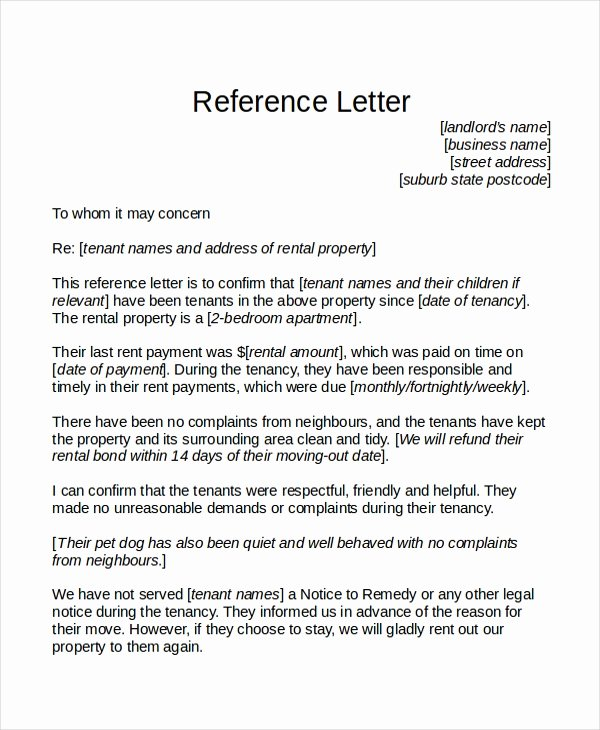 Recommendation Letter for Tenant Lovely 18 Reference Letter Template Free Sample Example