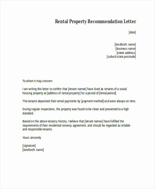 Recommendation Letter for Tenant Lovely 89 Re Mendation Letter Examples & Samples Doc Pdf