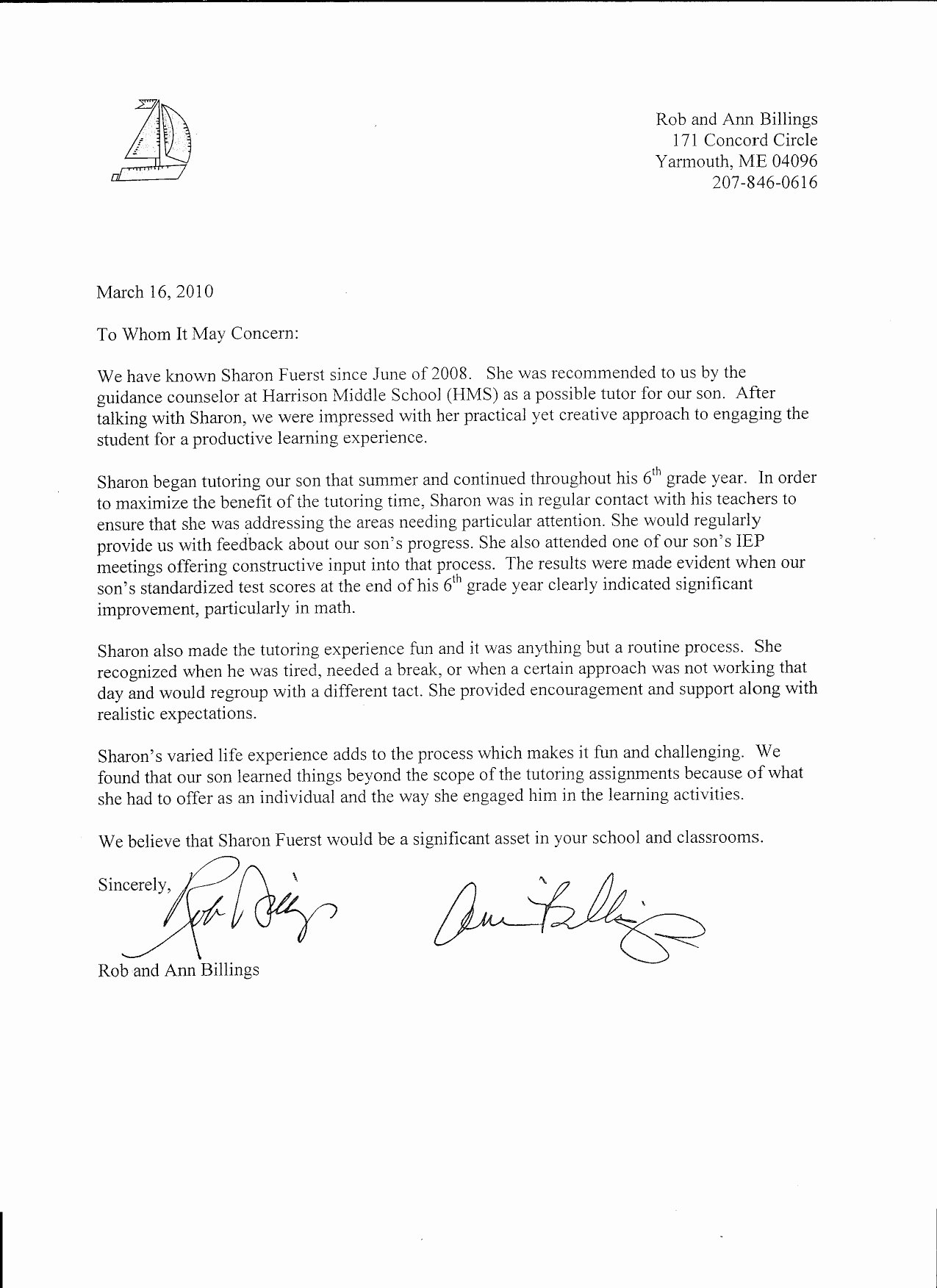 Recommendation Letter for Tutor Awesome Sharon Fuerst Tutoring Re Mendations