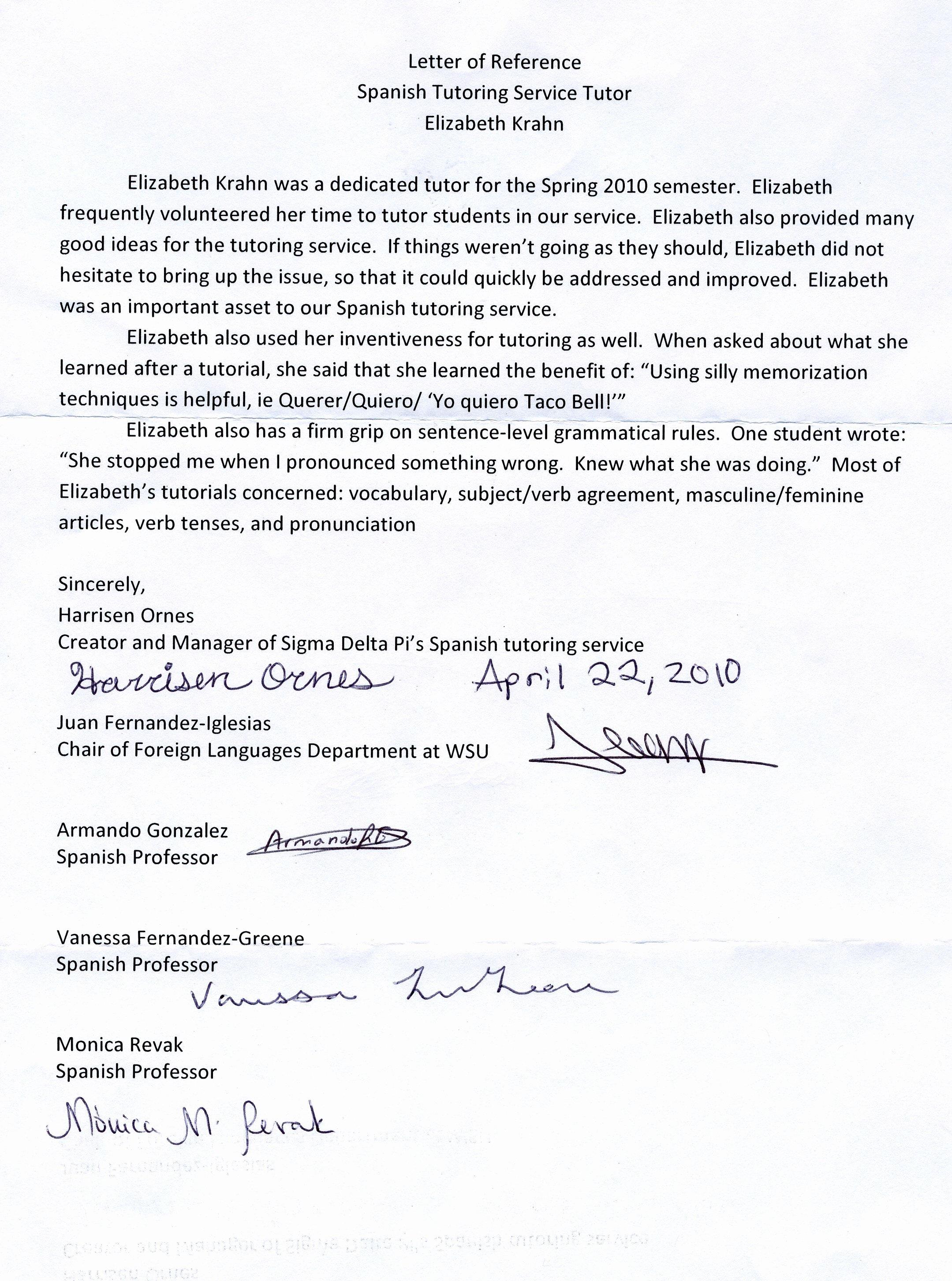 Recommendation Letter for Tutor Best Of Spanish Tutoring Reference Letter