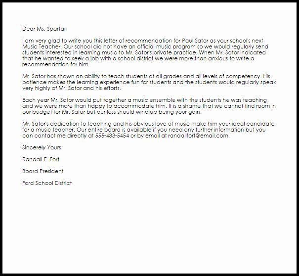 Recommendation Letter for Tutor Elegant Music Teacher Re Mendation Letter Example