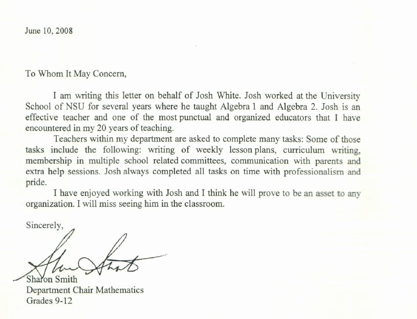 Recommendation Letter for Tutor Lovely References