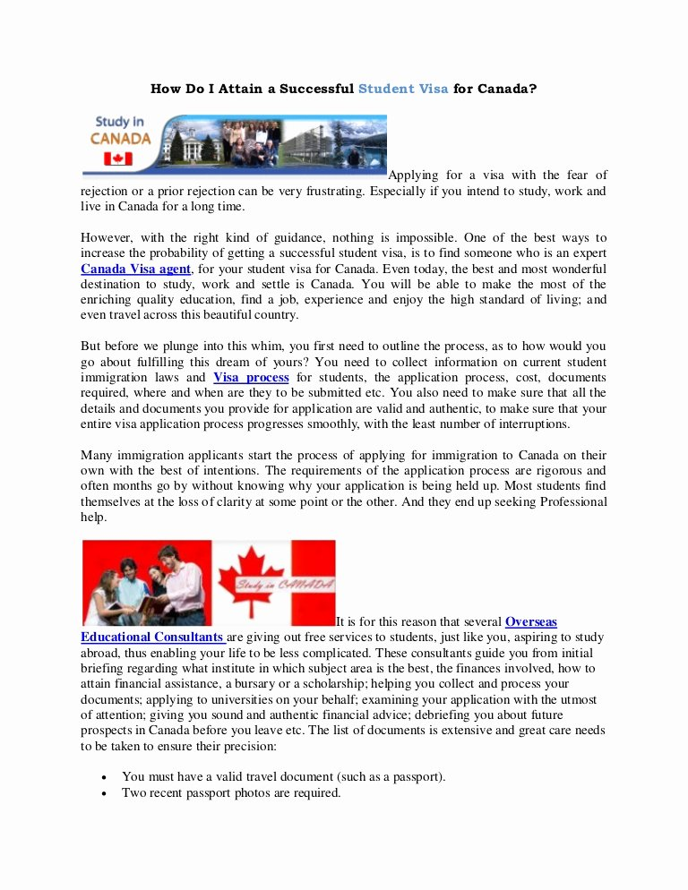 Recommendation Letter for Visa Lovely How Do I attain A Successful Student Visa for Canada