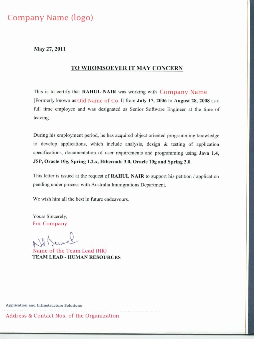 Recommendation Letter for Visa New Employee Reference Letter for Acs Skills assessment Visa