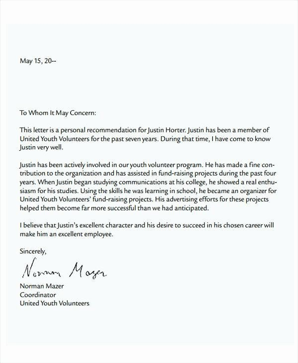 Recommendation Letter for Volunteer Student Awesome Student Re Mendation Letter Template