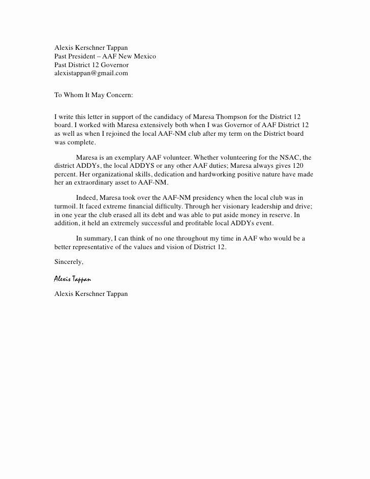 Recommendation Letter for Volunteer Student Inspirational Alexis Kerschner Tappan Re Mendation Letter
