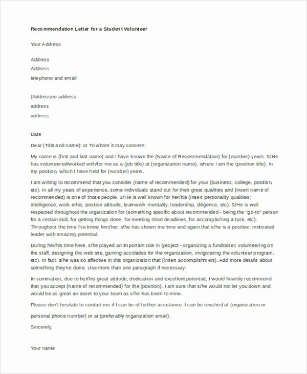 Recommendation Letter for Volunteer Student Unique 45 Free Re Mendation Letter Templates