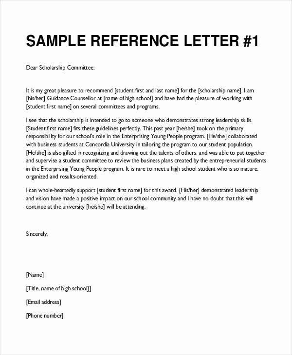 Recommendation Letter format for Scholarship Luxury Sample College Re Mendation Letter 8 Free Documents