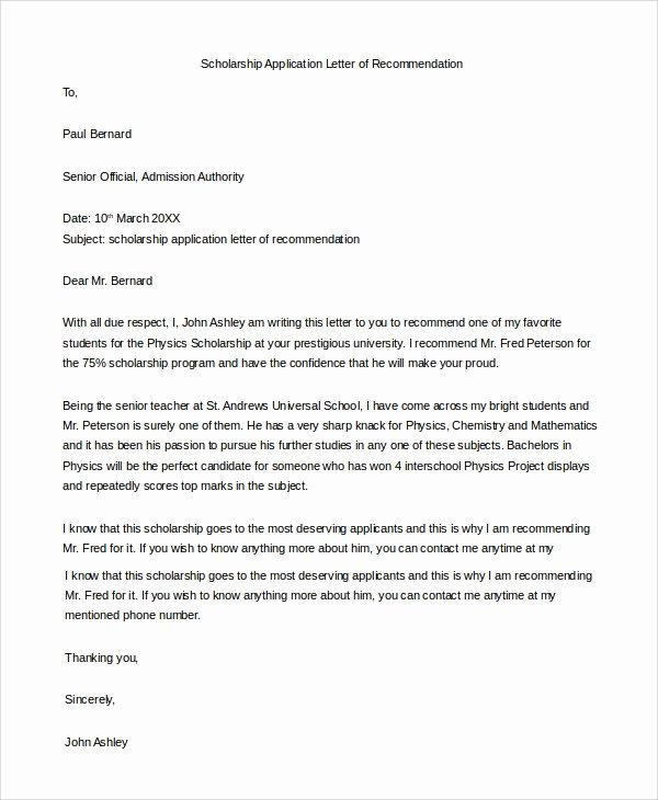 Recommendation Letter format for Scholarship New 10 Example Of Re Mendation Letters