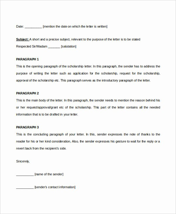 Recommendation Letter format for Scholarship New Scholarship Letter Template 11 Free Sample Example