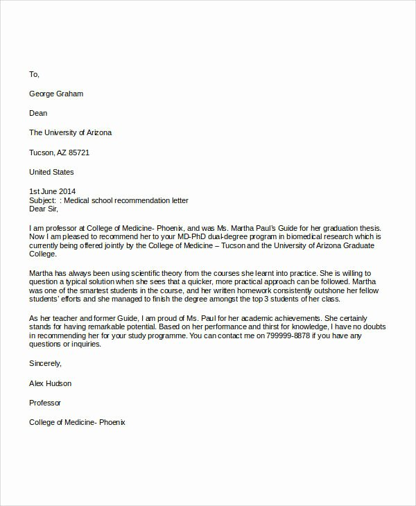 Recommendation Letter Medical School Lovely Examples Of Re Mendation Letter