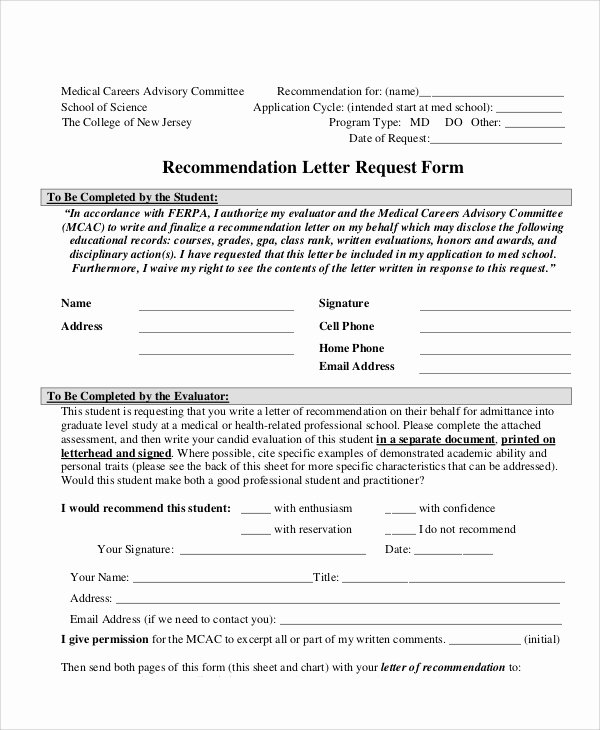Recommendation Letter Request Sample Awesome 10 Sample Letter Request forms