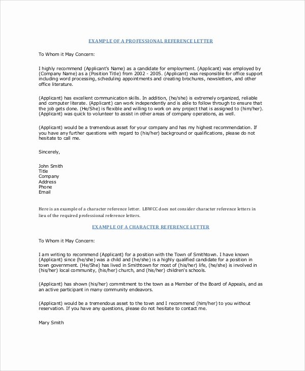 Recommendation Letter Request Sample Elegant 7 Sample Professional Reference Letters