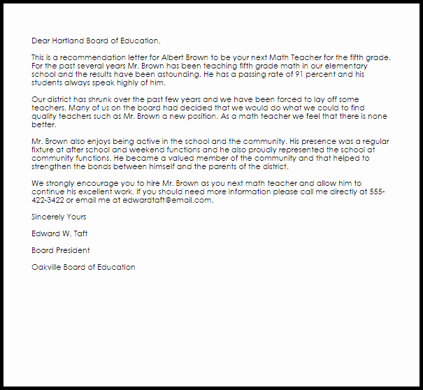 Recommendation Letter Sample for Teacher Fresh Math Teacher Re Mendation Letter Example