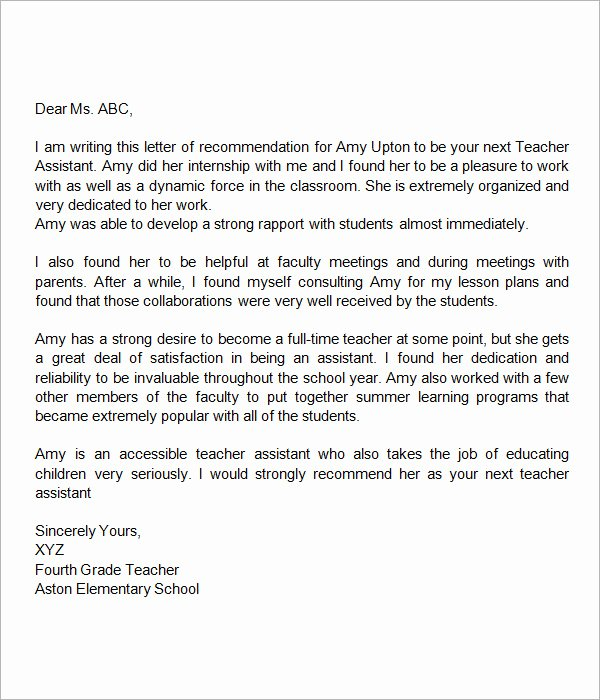 Recommendation Letter Sample for Teacher Fresh Sample Letters Of Re Mendation for Teacher 12