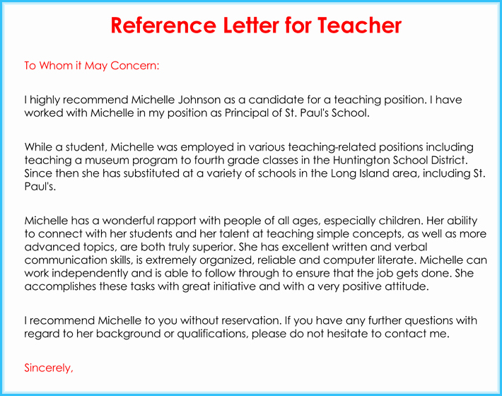 Recommendation Letter Sample for Teacher New Teacher Re Mendation Letter 20 Samples Fromats