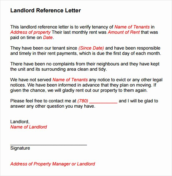 Recommendation Letter Sample Pdf Beautiful 10 Landlord Reference Templates to Free Download