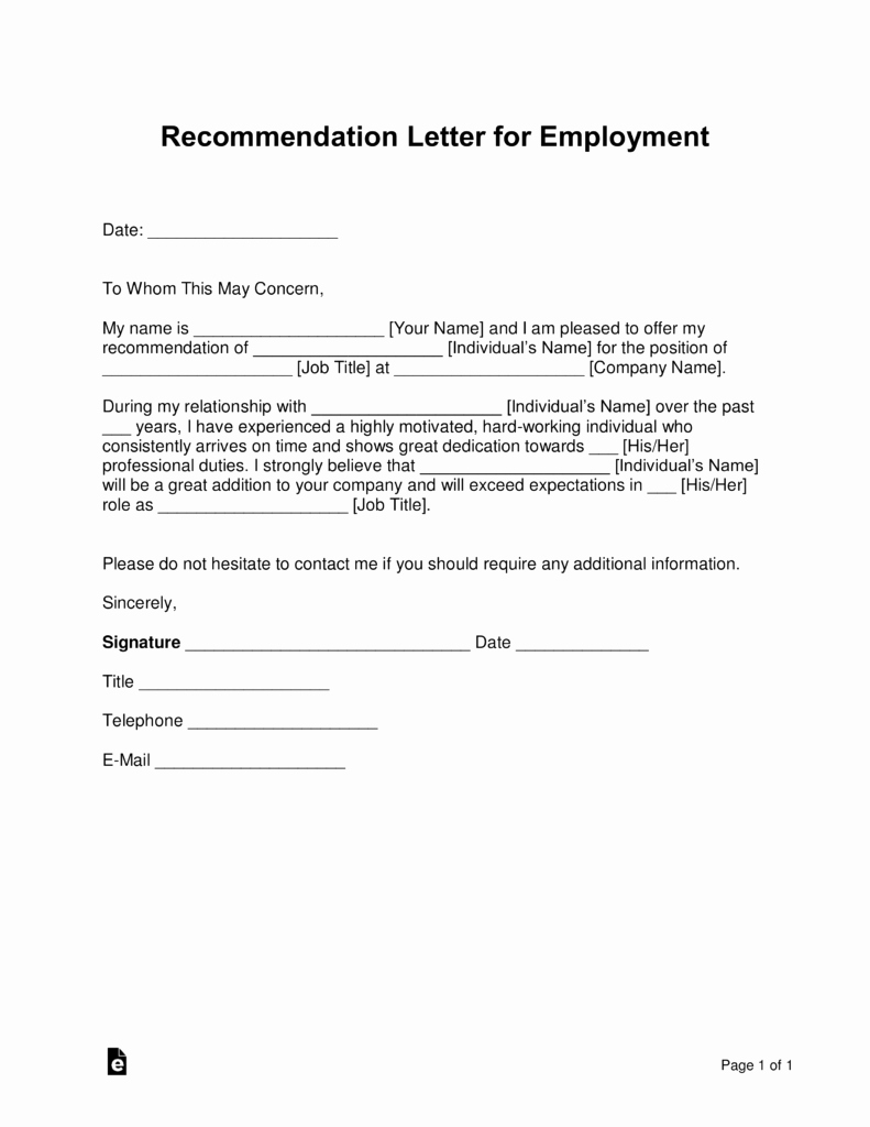 Recommendation Letter Sample Pdf Lovely Free Job Re Mendation Letter Template with Samples