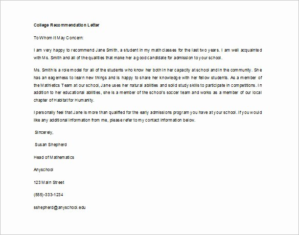 Recommendation Letter Template for Student Elegant 12 Letter Of Re Mendation for Student Templates Pdf
