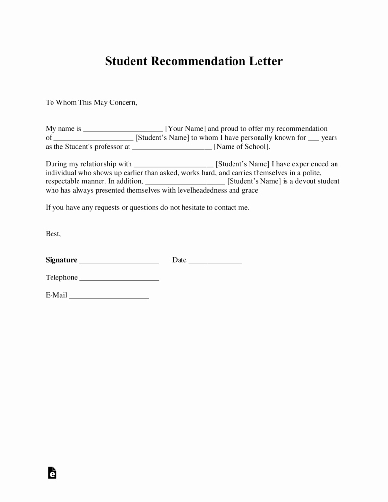 Recommendation Letter Template for Student Unique Free Student Re Mendation Letter Template with Samples