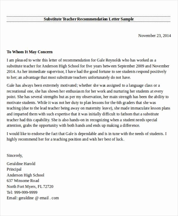 Recommendation Letter Template for Teacher Awesome 28 Re Mendation Letter Examples