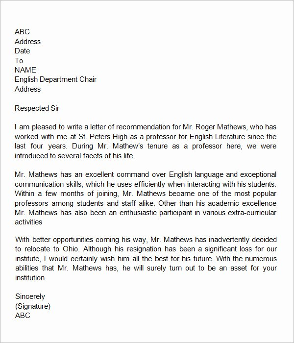 Recommendation Letter Template for Teacher Beautiful 19 Letter Of Re Mendation for Teacher Samples Pdf Doc