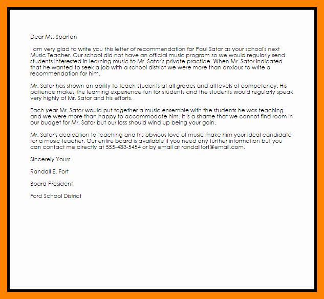 Recommendation Letter Template for Teacher Inspirational 10 Resignation Letter for Prn Position