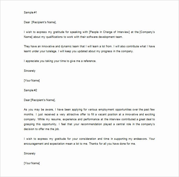 Recommendation Letter Thank You Elegant Thank You Letter for Re Mendation – 9 Free Word Excel