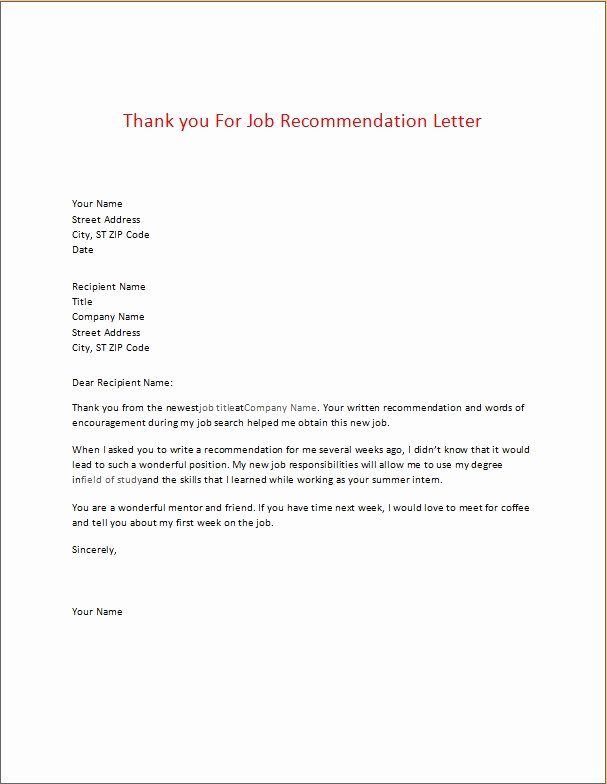 Recommendation Letter Thank You Fresh Appreciation Thank You Letters