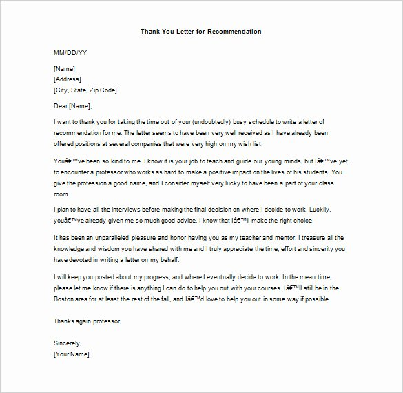 Recommendation Letter Thank You Note Awesome Thank You Letter for Re Mendation – 9 Free Word Excel