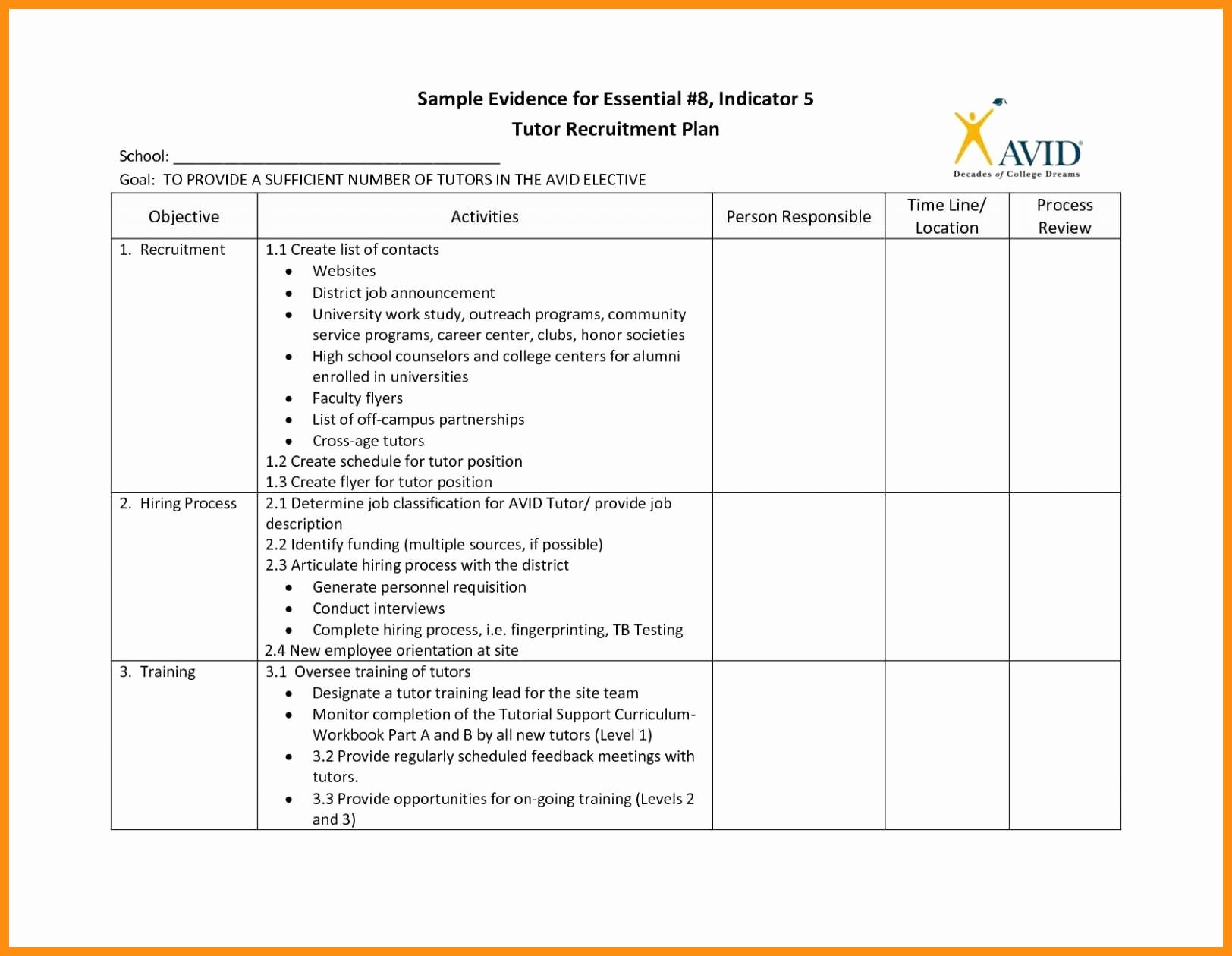 Recruitment Action Plan Template Best Of Sample Recruitment Plan Template